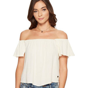 ROXY OFF THE SHOULDER CREAM IVORY WHITE TOP MEDIUM